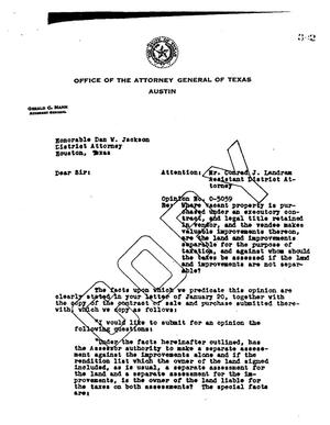 Primary view of object titled 'Texas Attorney General Opinion: O-5059'.