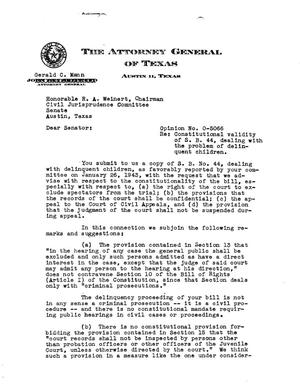 Primary view of object titled 'Texas Attorney General Opinion: O-5066'.