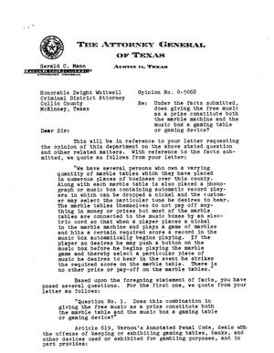 Primary view of object titled 'Texas Attorney General Opinion: O-5068'.