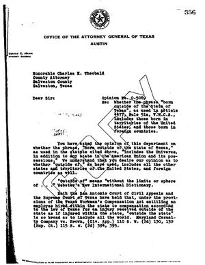 Primary view of object titled 'Texas Attorney General Opinion: O-5069'.