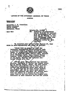 Primary view of object titled 'Texas Attorney General Opinion: O-5071'.