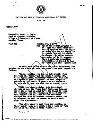 Primary view of object titled 'Texas Attorney General Opinion: O-5078'.