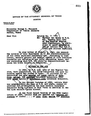Primary view of object titled 'Texas Attorney General Opinion: O-5084'.