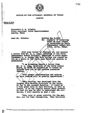 Primary view of object titled 'Texas Attorney General Opinion: O-5091'.
