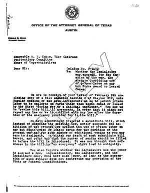 Primary view of object titled 'Texas Attorney General Opinion: O-5092'.
