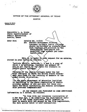 Primary view of object titled 'Texas Attorney General Opinion: O-5101'.