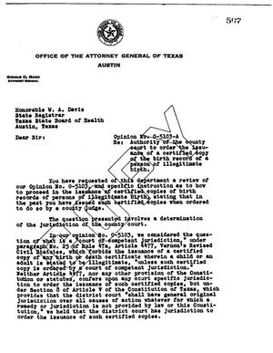 Primary view of object titled 'Texas Attorney General Opinion: O-5103A'.
