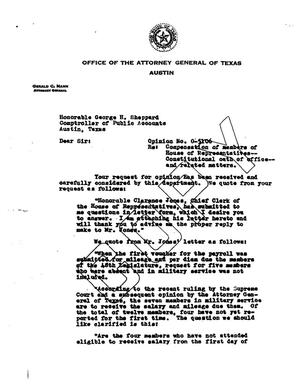 Primary view of object titled 'Texas Attorney General Opinion: O-5106'.