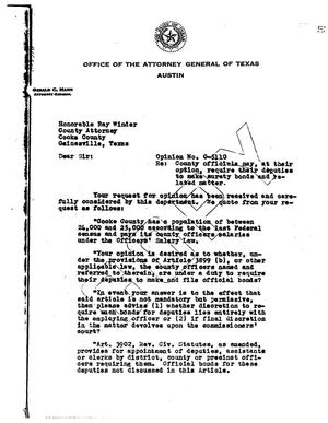Primary view of object titled 'Texas Attorney General Opinion: O-5110'.