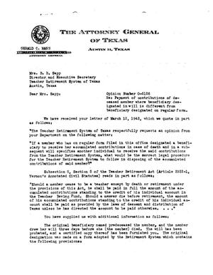 Primary view of object titled 'Texas Attorney General Opinion: O-5126'.