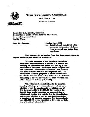 Primary view of object titled 'Texas Attorney General Opinion: O-5130'.