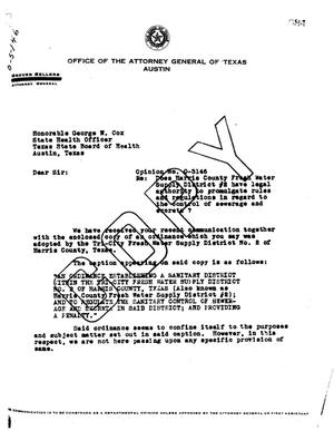 Primary view of object titled 'Texas Attorney General Opinion: O-5146'.