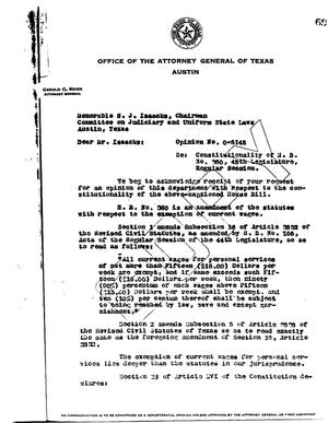 Primary view of object titled 'Texas Attorney General Opinion: O-5148'.