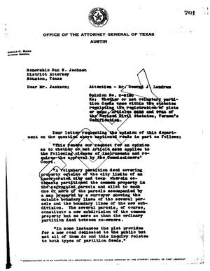 Primary view of object titled 'Texas Attorney General Opinion: O-5150'.