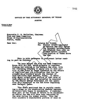 Primary view of object titled 'Texas Attorney General Opinion: O-5151'.