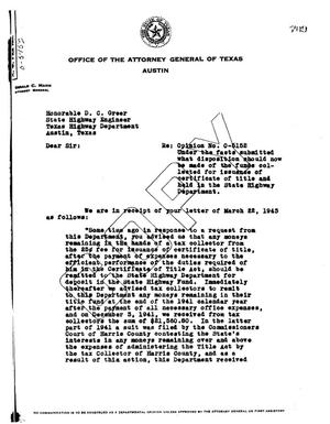 Primary view of object titled 'Texas Attorney General Opinion: O-5152'.