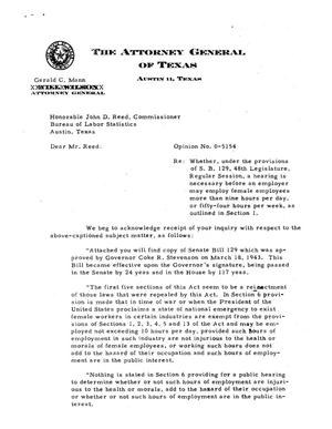 Primary view of object titled 'Texas Attorney General Opinion: O-5154'.
