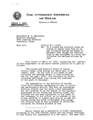 Primary view of object titled 'Texas Attorney General Opinion: O-5161'.