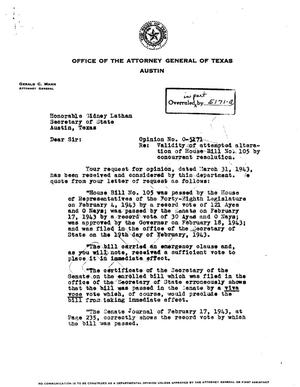 Primary view of object titled 'Texas Attorney General Opinion: O-5171'.