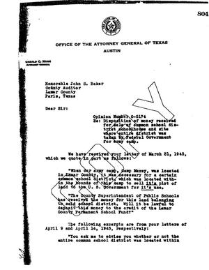 Primary view of object titled 'Texas Attorney General Opinion: O-5174'.