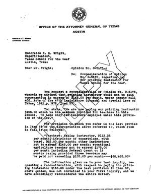 Primary view of object titled 'Texas Attorney General Opinion: O-5175A'.