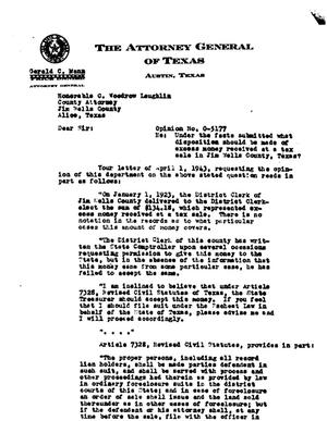 Primary view of object titled 'Texas Attorney General Opinion: O-5177'.