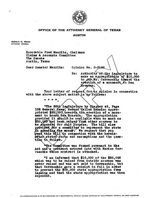 Primary view of object titled 'Texas Attorney General Opinion: O-5188'.
