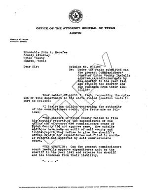 Primary view of object titled 'Texas Attorney General Opinion: O-5198'.