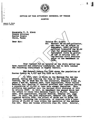 Primary view of object titled 'Texas Attorney General Opinion: O-5201'.