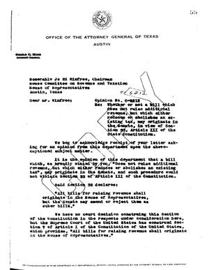 Primary view of object titled 'Texas Attorney General Opinion: O-5212'.