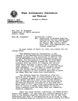 Primary view of object titled 'Texas Attorney General Opinion: O-5214'.