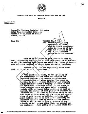 Primary view of object titled 'Texas Attorney General Opinion: O-5216'.