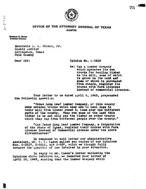 Primary view of object titled 'Texas Attorney General Opinion: O-5218'.