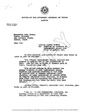 Primary view of object titled 'Texas Attorney General Opinion: O-5219'.
