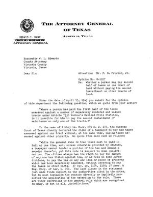 Primary view of object titled 'Texas Attorney General Opinion: O-5227'.
