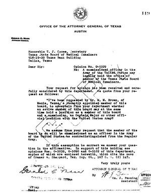 Primary view of object titled 'Texas Attorney General Opinion: O-5229'.