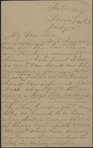 Primary view of object titled 'Letter to Cromwell Anson Jones, 16 July [1881]'.
