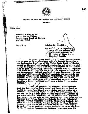 Primary view of object titled 'Texas Attorney General Opinion: O-5238'.