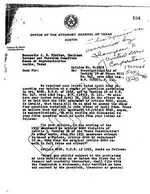 Primary view of object titled 'Texas Attorney General Opinion: O-5239'.
