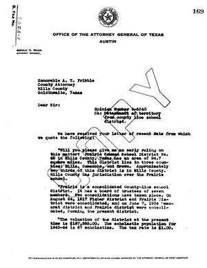 Primary view of object titled 'Texas Attorney General Opinion: O-5243'.