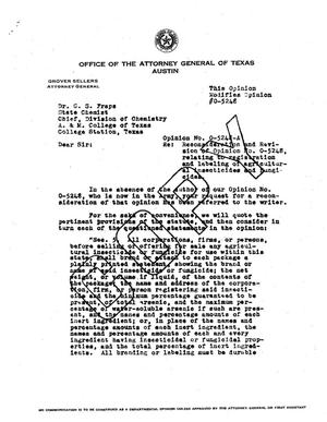 Primary view of object titled 'Texas Attorney General Opinion: O-5248A'.