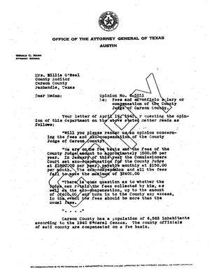 Primary view of object titled 'Texas Attorney General Opinion: O-5251'.