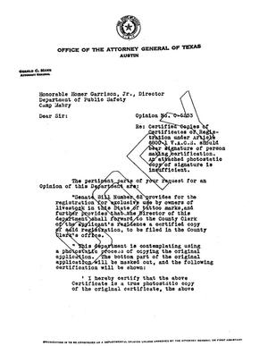 Primary view of object titled 'Texas Attorney General Opinion: O-5253'.