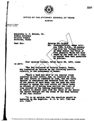 Primary view of object titled 'Texas Attorney General Opinion: O-5258'.