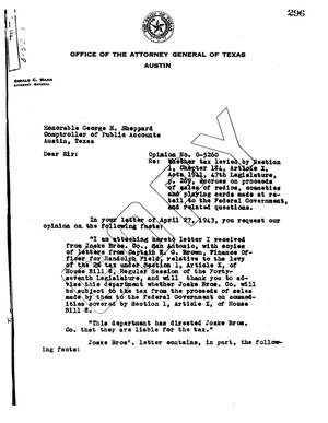 Primary view of object titled 'Texas Attorney General Opinion: O-5260'.