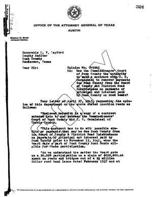 Primary view of object titled 'Texas Attorney General Opinion: O-5263'.