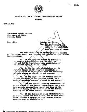 Primary view of object titled 'Texas Attorney General Opinion: O-5271'.