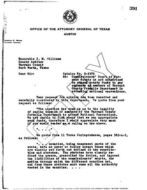 Primary view of object titled 'Texas Attorney General Opinion: O-5275'.