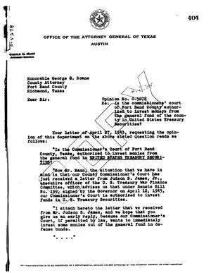 Primary view of object titled 'Texas Attorney General Opinion: O-5278'.