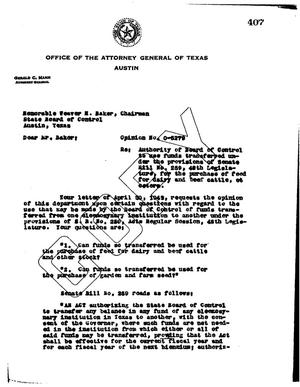 Primary view of object titled 'Texas Attorney General Opinion: O-5279'.